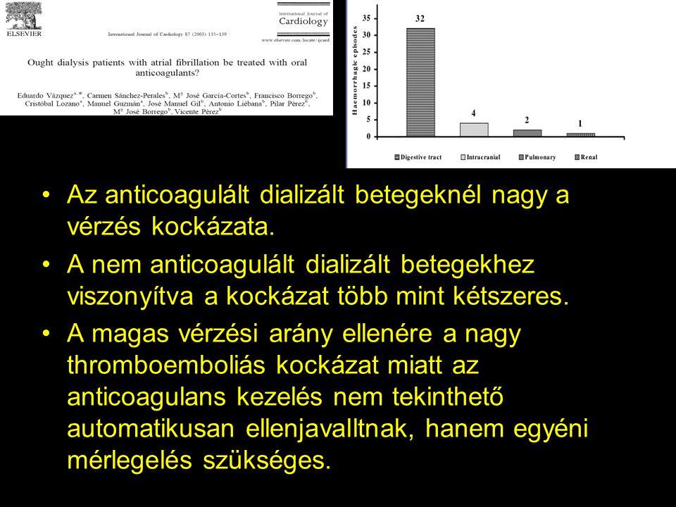Az anticoagulált dializált betegeknél nagy a vérzés kockázata. A nem anticoagulált dializált betegekhez viszonyítva a kockázat több mint kétszeres. A
