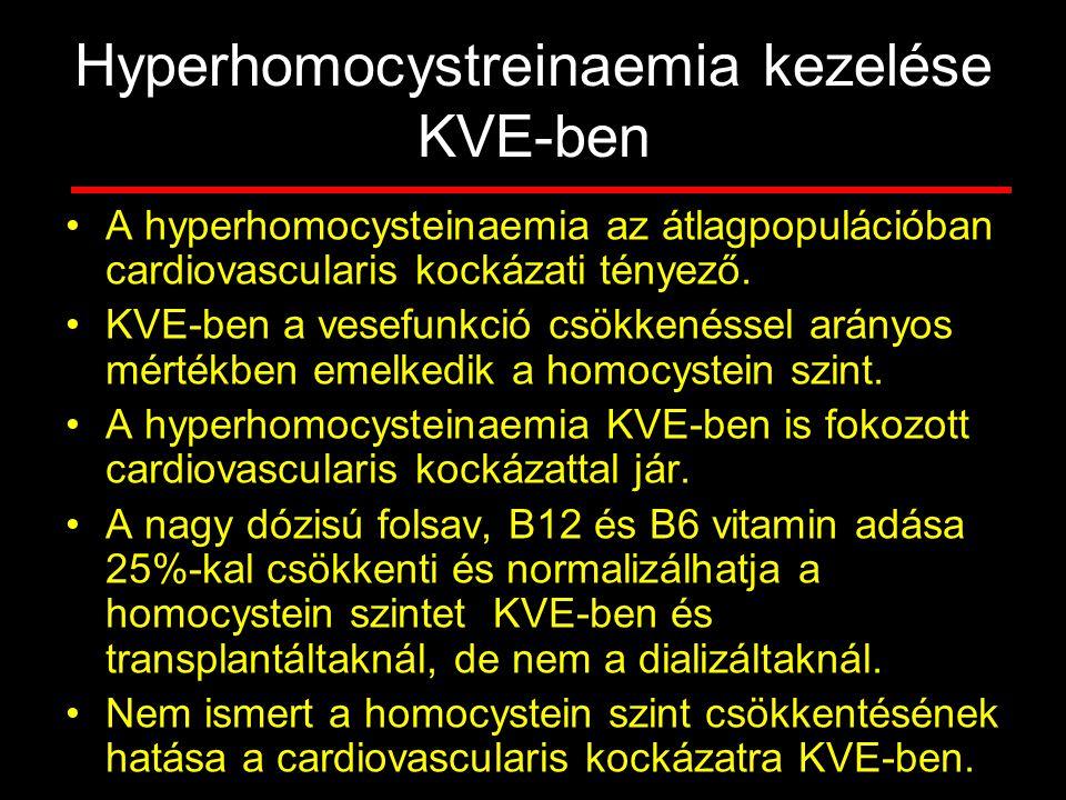 Hyperhomocystreinaemia kezelése KVE-ben A hyperhomocysteinaemia az átlagpopulációban cardiovascularis kockázati tényező. KVE-ben a vesefunkció csökken