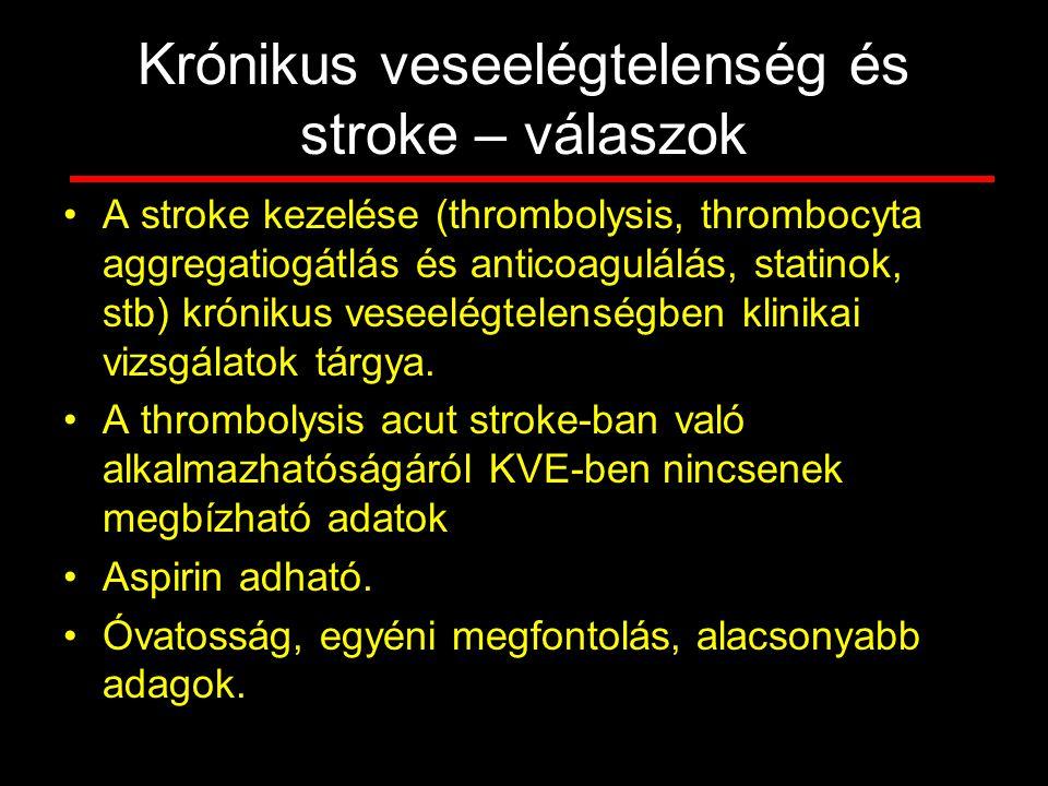 Krónikus veseelégtelenség és stroke – válaszok A stroke kezelése (thrombolysis, thrombocyta aggregatiogátlás és anticoagulálás, statinok, stb) króniku