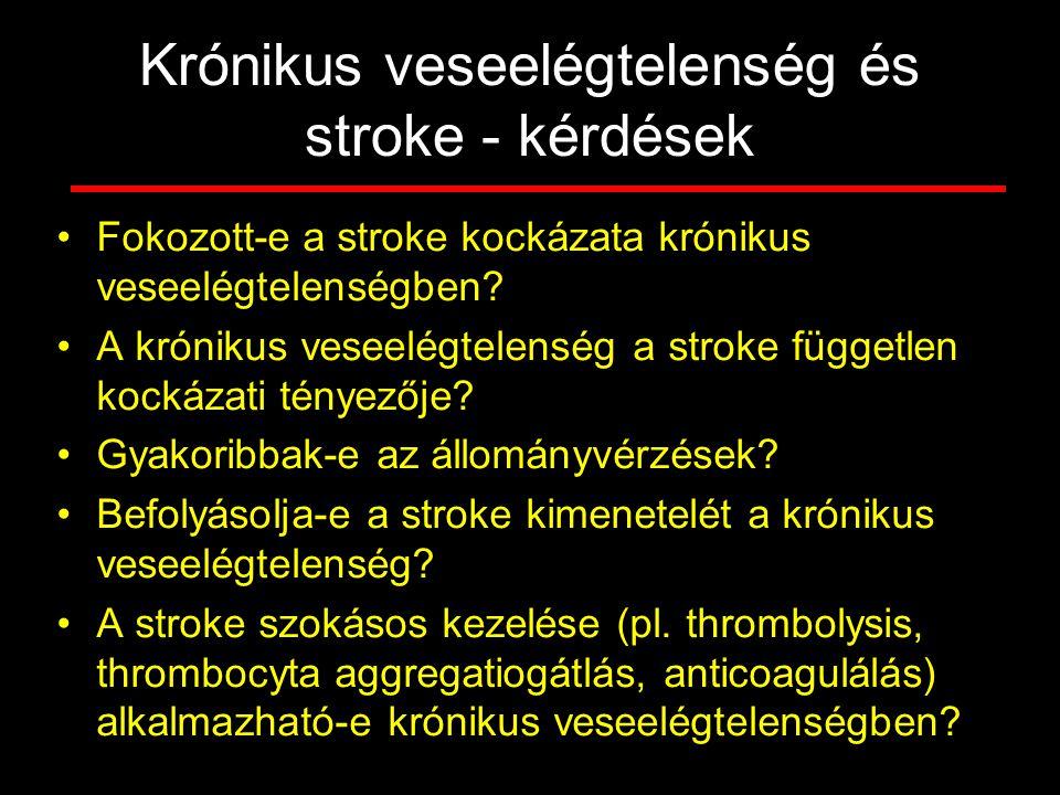 Krónikus veseelégtelenség és stroke - kérdések Fokozott-e a stroke kockázata krónikus veseelégtelenségben? A krónikus veseelégtelenség a stroke függet
