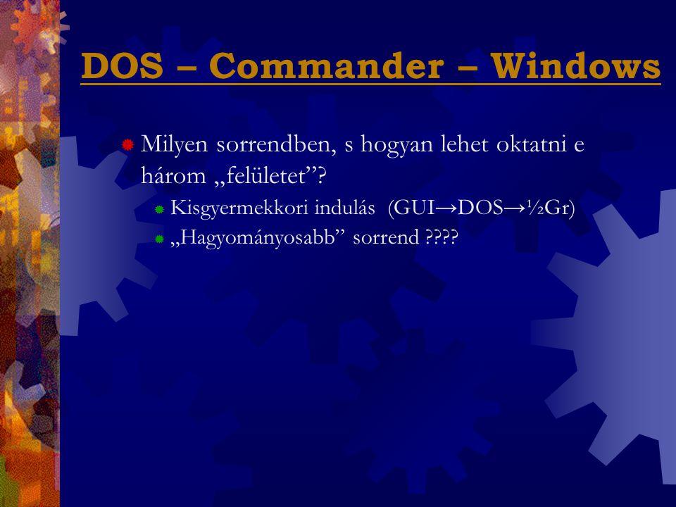 """DOS – Commander – Windows  Milyen sorrendben, s hogyan lehet oktatni e három """"felületet ."""
