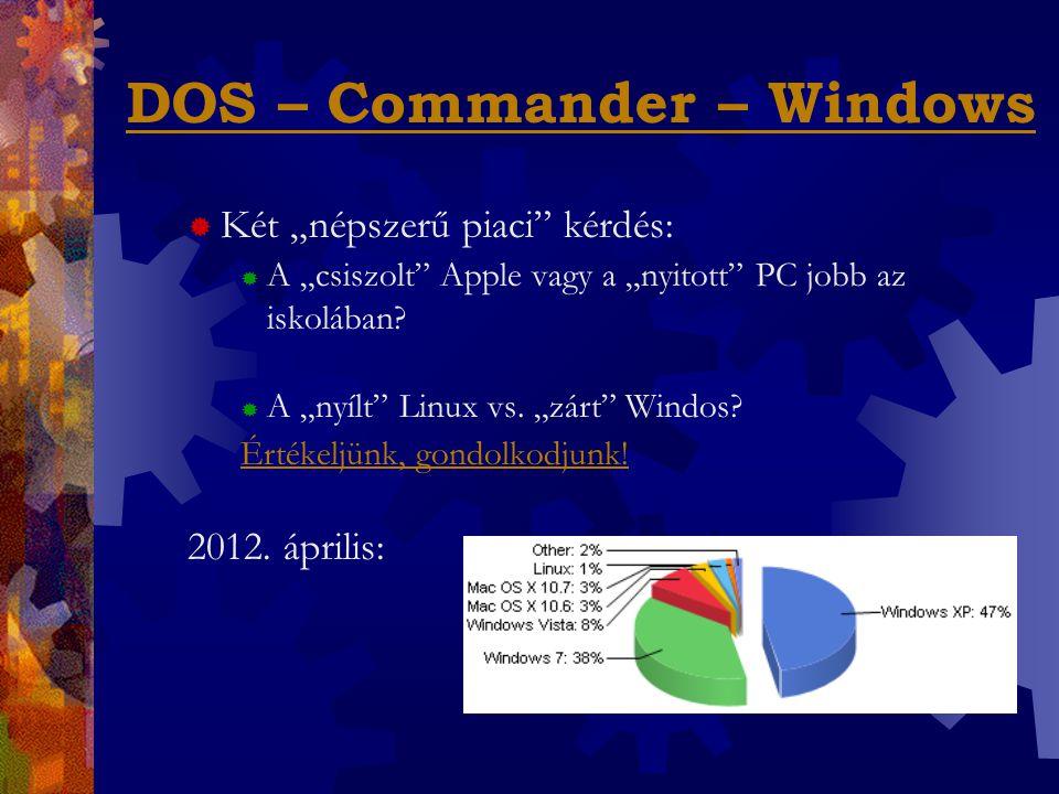"""DOS – Commander – Windows  Két """"népszerű piaci kérdés:  A """"csiszolt Apple vagy a """"nyitott PC jobb az iskolában."""