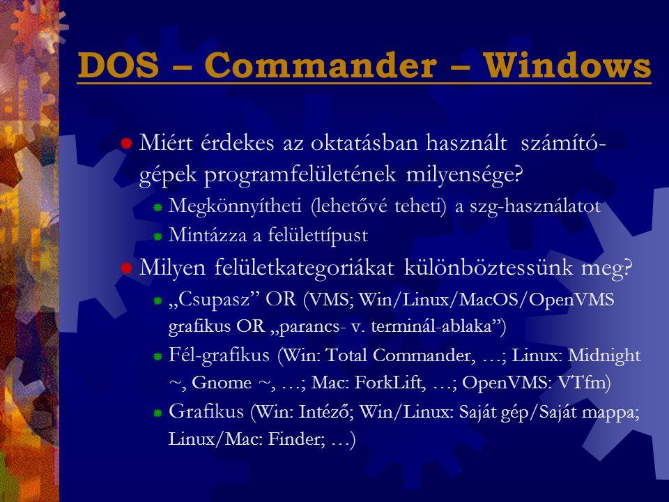"""DOS – Commander – Windows  Mire lehet szükség egy """"fél-grafikus operációs rendszer kiterjesztés ismereteiből."""
