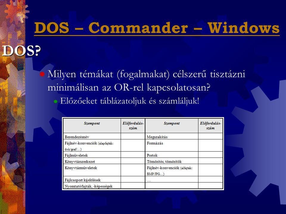 """DOS – Commander – Windows  Miért jó, ha jó egyáltalán, valamilyen """"fél- grafikus OR-kiterjesztés ismerete."""