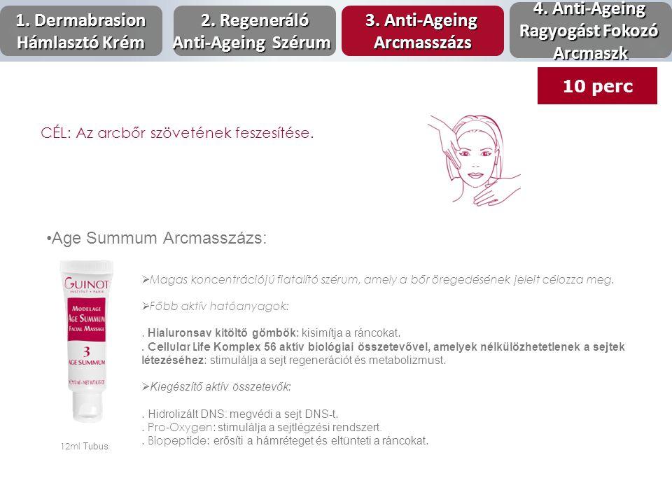 Age Summum Arcmasszázs: 12ml Tubus  Magas koncentrációjú fiatalító szérum, amely a bőr öregedésének jeleit célozza meg.  Főbb aktív hatóanyagok:. Hi