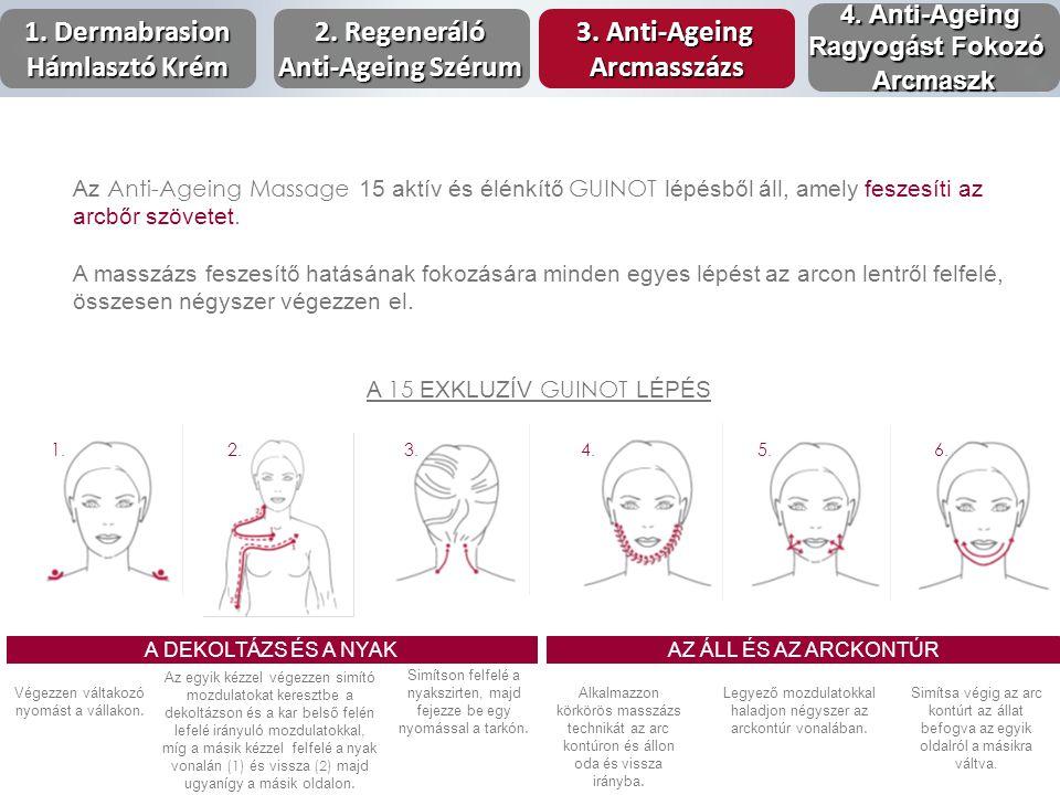 Az Anti-Ageing Massage 15 aktív és élénkítő GUINOT lépésből áll, amely feszesíti az arcbőr szövetet. A masszázs feszesítő hatásának fokozására minden