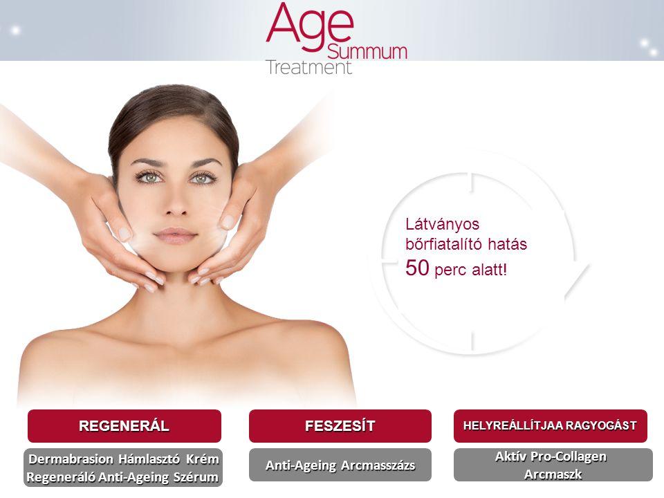 A kezelés, amely a bőröregedés látható jeleit célozza meg Age Summum Kezelés, manuális bőrápolási metódus Négy lépés : Szem és arc smink eltávolítás és letisztítás 1 / Dermabrasion Hámlasztó Krém A megújult bőr felszínre hozása, az elhalt hámsejtek eltávolítása 2 / Regeneráló Anti-Ageing Szérum Stimulálja a sejtregenerációt 3 / Anti-Ageing Arcmasszázs Az arcbőr szövet feszesítése 4 / Anti-Ageing Tündöklést Elősegítő Arcmaszk Helyreállítja a fiatalos bőr ragyogását Bőrtípusnak megfelelő bőrápoló krém alkalmazása 50 perc