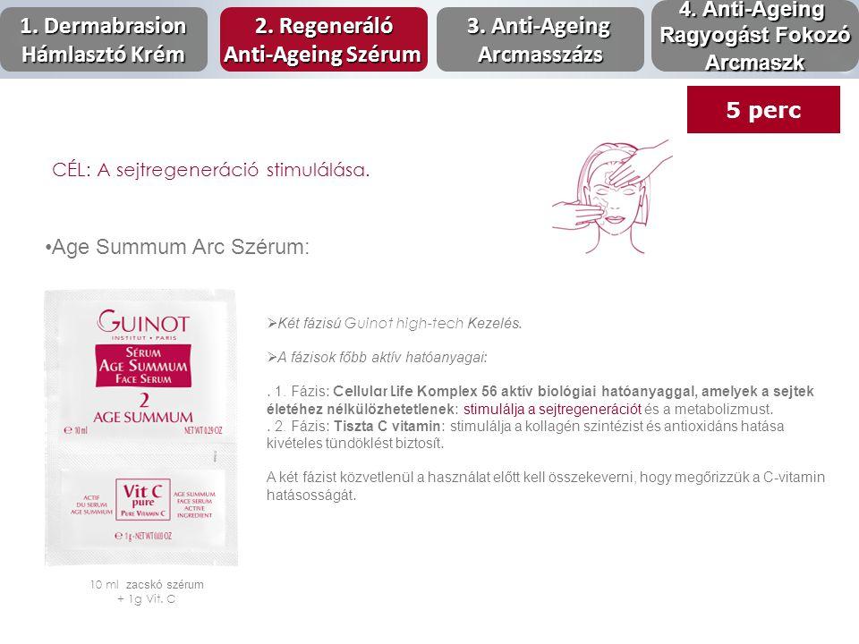 Age Summum Arc Szérum: 10 ml zacskó szérum + 1g Vit. C  Két fázisú Guinot high-tech Kezelés.  A fázisok főbb aktív hatóanyagai :. 1. Fázis : Cellula