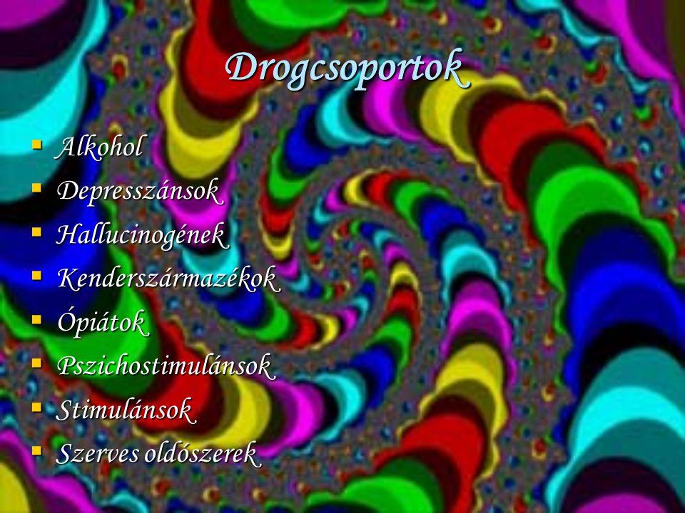 Szerves oldószerek  Legolcsóbb kábítószerek, legálisak  Kéjgáz(ha kevés oxigénnel adják,károsítja az agyszövetet és a szívet)  Éter( hányinger, hányás, gyomorhurut, erős tolerancia)  Alifás nitritek (poppers)( szédülés, fejfájás, hányás, ájulás, szívmegállás, légzészavar…)  Ipari oldószerek( hányás, viszketés, ideggyulladás, idegbénulás…)