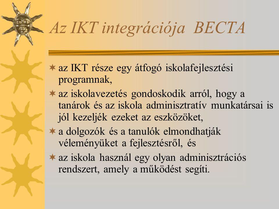 Az IKT integrációja BECTA  az IKT része egy átfogó iskolafejlesztési programnak,  az iskolavezetés gondoskodik arról, hogy a tanárok és az iskola adminisztratív munkatársai is jól kezeljék ezeket az eszközöket,  a dolgozók és a tanulók elmondhatják véleményüket a fejlesztésről, és  az iskola használ egy olyan adminisztrációs rendszert, amely a működést segíti.