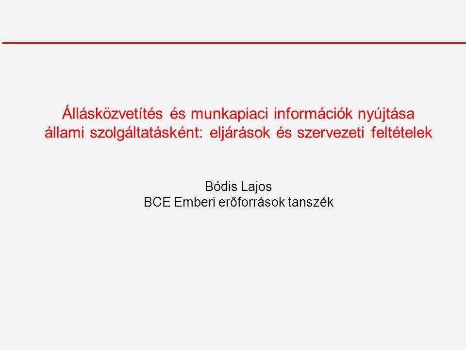 Állásközvetítés és munkapiaci információk nyújtása állami szolgáltatásként: eljárások és szervezeti feltételek Bódis Lajos BCE Emberi erőforrások tanszék