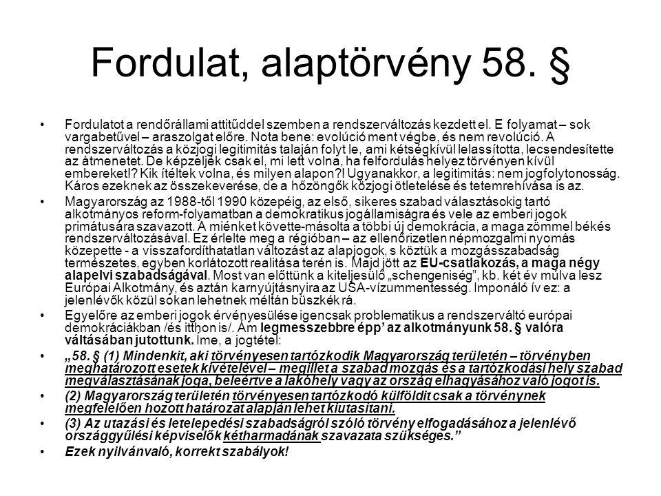 Fordulat, alaptörvény 58.