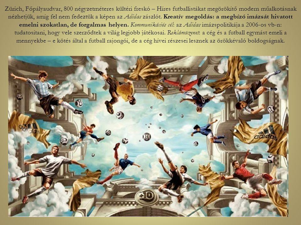 Zürich, Főpályaudvar, 800 négyzetméteres kültéri freskó – Híres futballistákat megörökítő modern műalkotásnak nézhetjük, amíg fel nem fedeztük a képen
