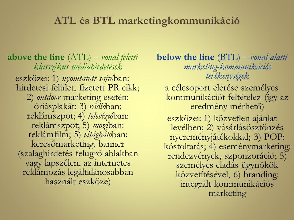 ATL és BTL marketingkommunikáció above the line (ATL) – vonal feletti klasszikus médiahirdetések eszközei: 1) nyomtatott sajtóban: hirdetési felület,