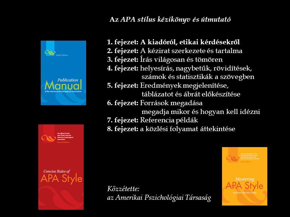 Az APA stílus kézikönyv és útmutató 1. fejezet: A kiadóról, etikai kérdésekről 2. fejezet: A kézirat szerkezete és tartalma 3. fejezet: Írás világosan