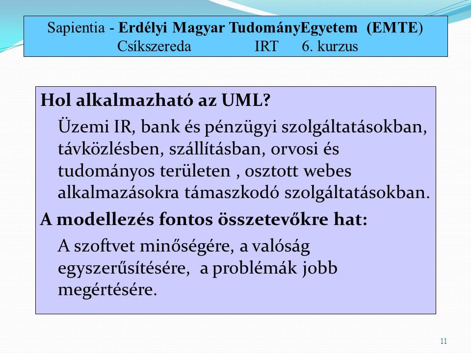 Hol alkalmazható az UML? Üzemi IR, bank és pénzügyi szolgáltatásokban, távközlésben, szállításban, orvosi és tudományos területen, osztott webes alkal