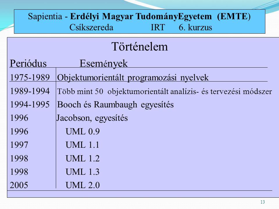 13 Történelem PeriódusEsem é nyek 1975-1989 Objektumorientált programozási nyelvek 1989-1994 Több mint 50 objektumorientált analízis- és tervezési mód
