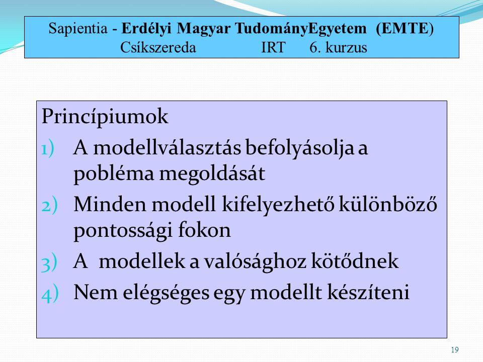 Princípiumok 1) A modellválasztás befolyásolja a pobléma megoldását 2) Minden modell kifelyezhető különböző pontossági fokon 3) A modellek a valóságho