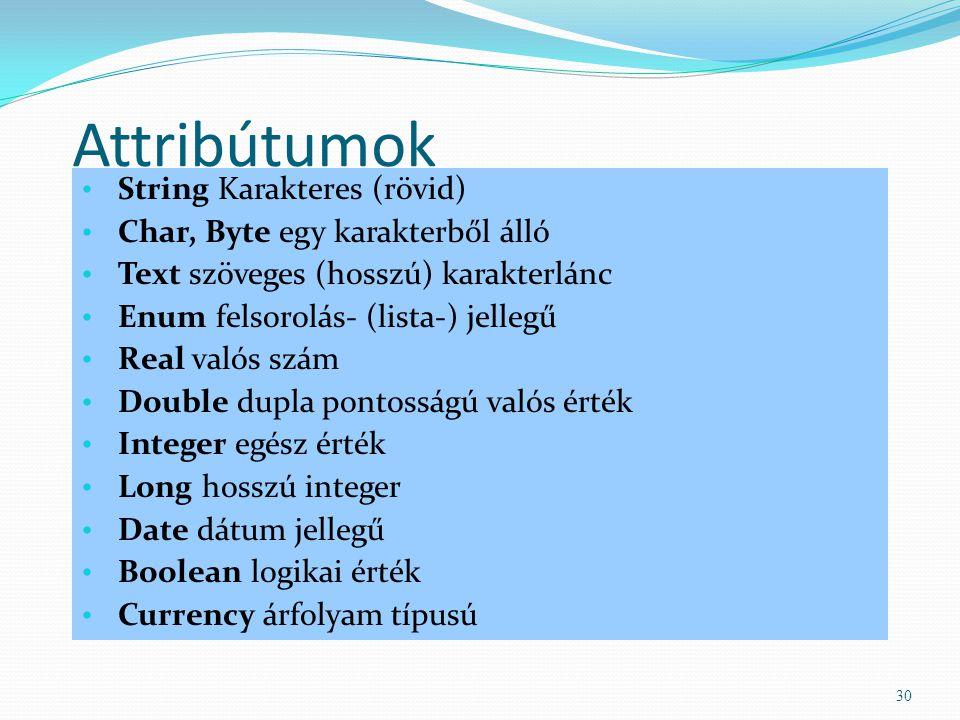 Attribútumok String Karakteres (rövid) Char, Byte egy karakterből álló Text szöveges (hosszú) karakterlánc Enum felsorolás- (lista-) jellegű Real való