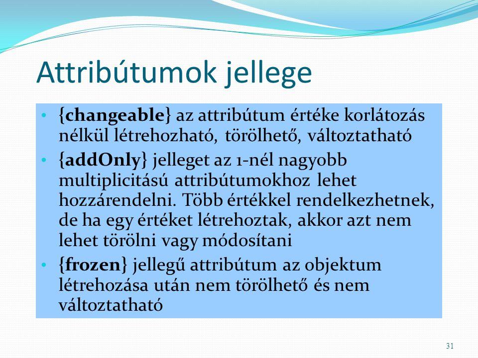 Attribútumok jellege {changeable} az attribútum értéke korlátozás nélkül létrehozható, törölhető, változtatható {addOnly} jelleget az 1-nél nagyobb mu