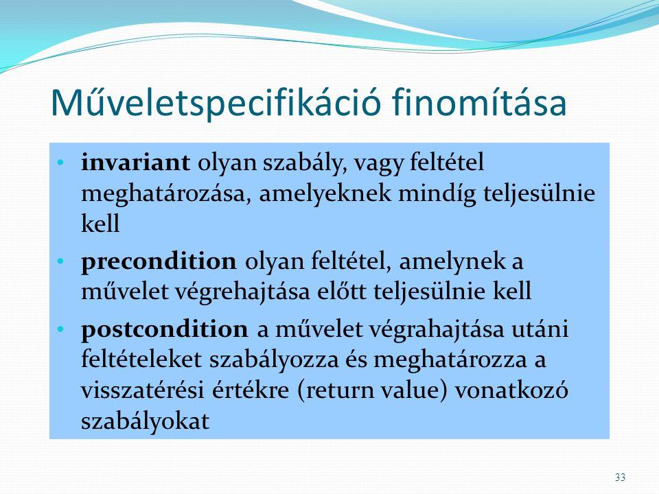 Műveletspecifikáció finomítása invariant olyan szabály, vagy feltétel meghatározása, amelyeknek mindíg teljesülnie kell precondition olyan feltétel, a