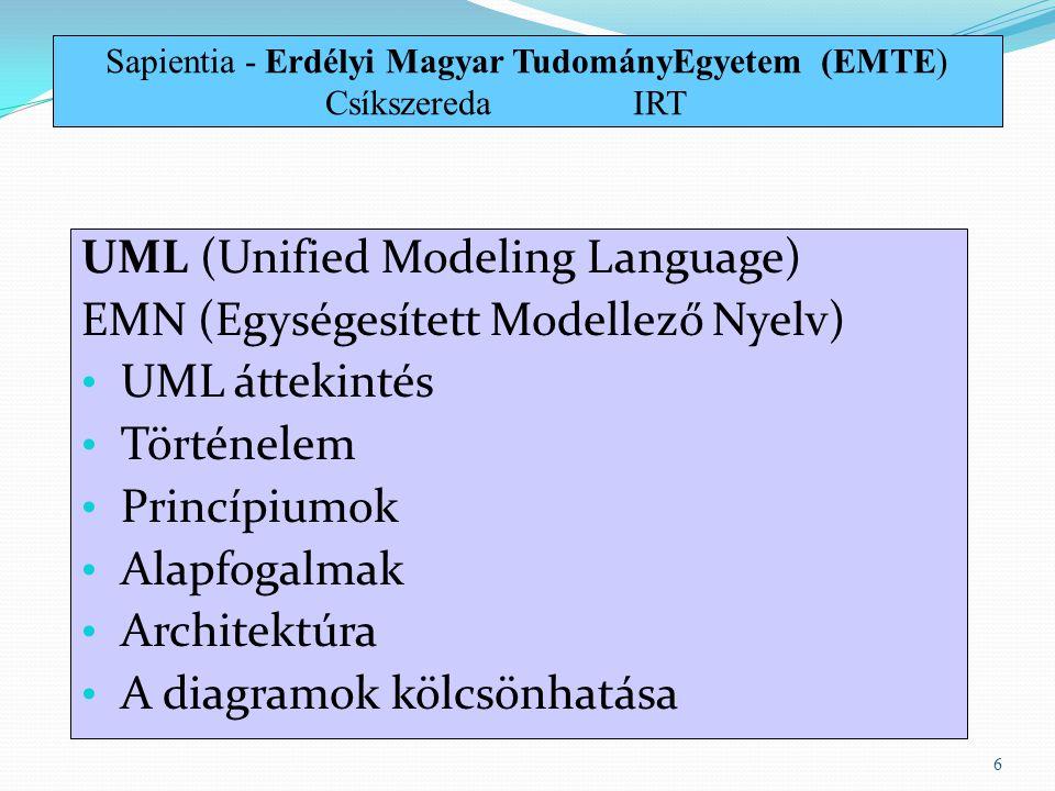 UML (Unified Modeling Language) EMN (Egységesített Modellező Nyelv) UML áttekintés Történelem Princípiumok Alapfogalmak Architektúra A diagramok kölcs