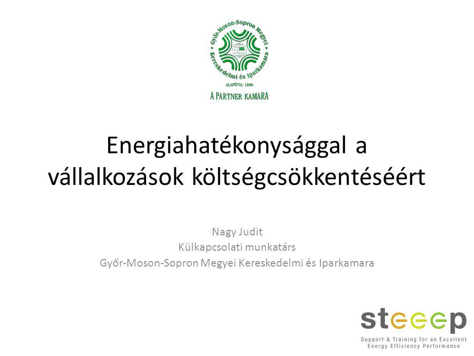 Energiahatékonysággal a vállalkozások költségcsökkentéséért Nagy Judit Külkapcsolati munkatárs Győr-Moson-Sopron Megyei Kereskedelmi és Iparkamara