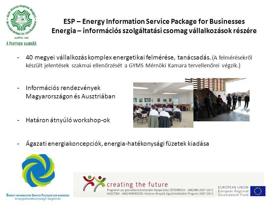 ESP – Energy Information Service Package for Businesses Energia – információs szolgáltatási csomag vállalkozások részére -40 megyei vállalkozás komplex energetikai felmérése, tanácsadás.