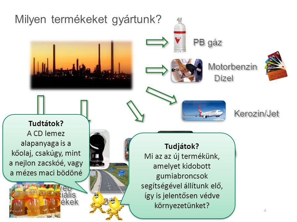 Milyen termékeket gyártunk? 4 PB gáz Motorbenzin Dízel Fűtőolaj Tüzelőolaj Kerozin/Jet Bitumen Egyéb speciális termékek Egyéb speciális termékek Tudtá