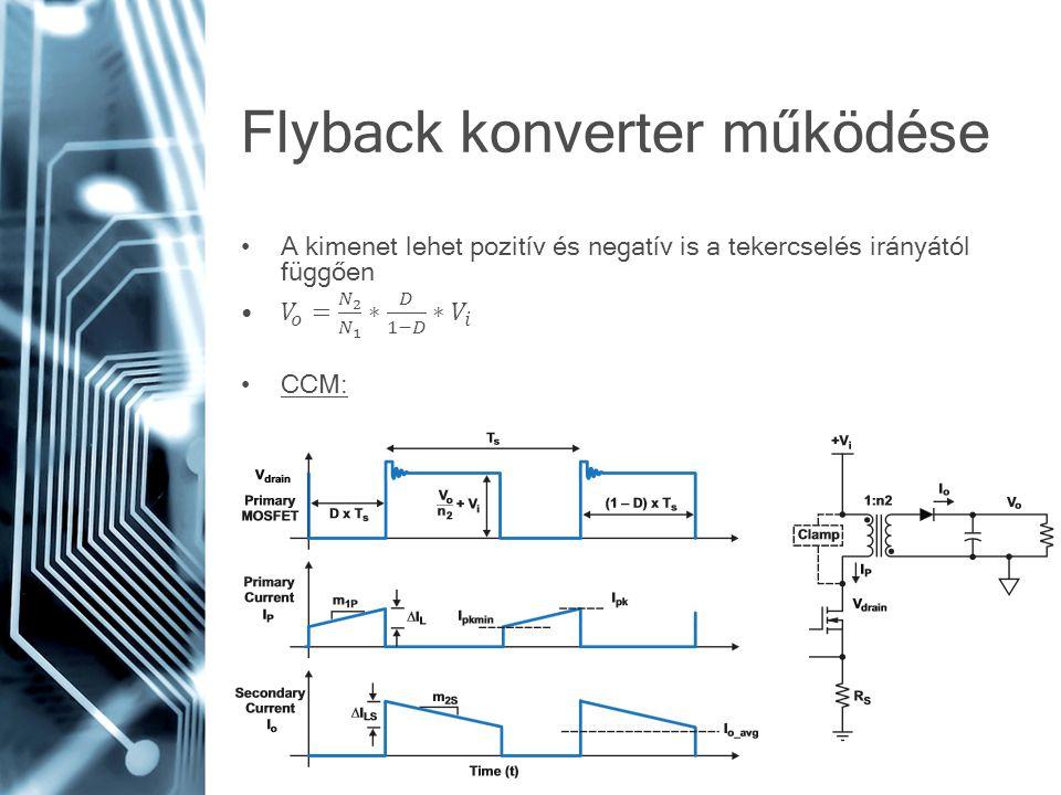 DCM:TM: Kisebb induktivitásMinimum MOSFET kapcsolási Kisebb transzformátorveszteség Nagyobb áramhullámosságMagasabb hatásfok Áramcsúcs akár kétszerese is lehet CCM-hez képest