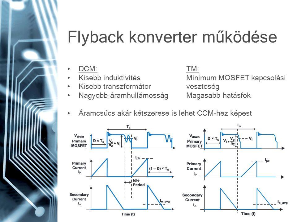 DCM:TM: Kisebb induktivitásMinimum MOSFET kapcsolási Kisebb transzformátorveszteség Nagyobb áramhullámosságMagasabb hatásfok Áramcsúcs akár kétszerese