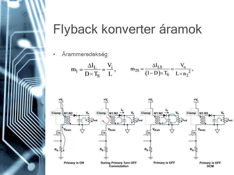Flyback konverter áramok Árammeredekség: