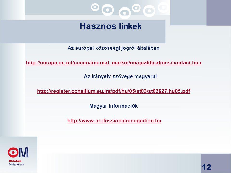 12 Az európai közösségi jogról általában http://europa.eu.int/comm/internal_market/en/qualifications/contact.htm Az irányelv szövege magyarul http://register.consilium.eu.int/pdf/hu/05/st03/st03627.hu05.pdf Magyar információk http://www.professionalrecognition.huhttp://www.professionalrecognition.hu Hasznos linkek