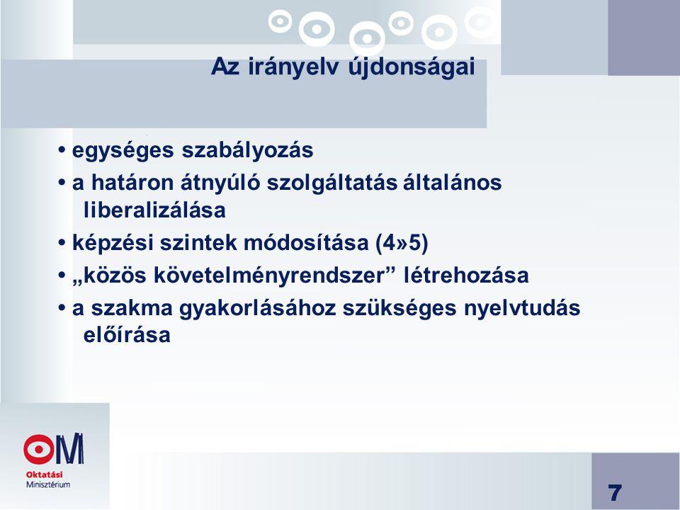 """7 Az irányelv újdonságai egységes szabályozás a határon átnyúló szolgáltatás általános liberalizálása képzési szintek módosítása (4»5) """"közös követelményrendszer létrehozása a szakma gyakorlásához szükséges nyelvtudás előírása"""