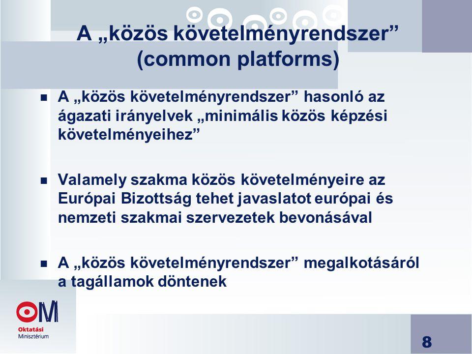 """8 A """"közös követelményrendszer (common platforms) n A """"közös követelményrendszer hasonló az ágazati irányelvek """"minimális közös képzési követelményeihez n Valamely szakma közös követelményeire az Európai Bizottság tehet javaslatot európai és nemzeti szakmai szervezetek bevonásával n A """"közös követelményrendszer megalkotásáról a tagállamok döntenek"""