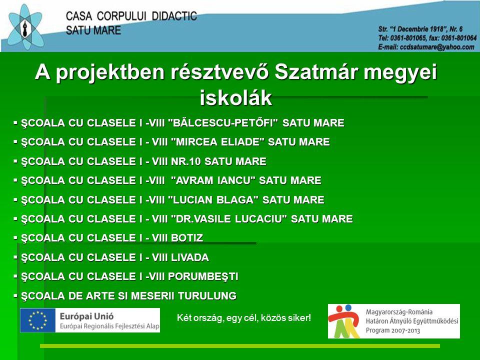 A projektben résztvevő Szatmár megyei iskolák  ŞCOALA CU CLASELE I -VIII BĂLCESCU-PETŐFI SATU MARE  ŞCOALA CU CLASELE I - VIII MIRCEA ELIADE SATU MARE  ŞCOALA CU CLASELE I - VIII NR.10 SATU MARE  ŞCOALA CU CLASELE I -VIII AVRAM IANCU SATU MARE  ŞCOALA CU CLASELE I -VIII LUCIAN BLAGA SATU MARE  ŞCOALA CU CLASELE I - VIII DR.VASILE LUCACIU SATU MARE  ŞCOALA CU CLASELE I - VIII BOTIZ  ŞCOALA CU CLASELE I - VIII LIVADA  ŞCOALA CU CLASELE I -VIII PORUMBEŞTI  ŞCOALA DE ARTE SI MESERII TURULUNG Két ország, egy cél, közös siker!