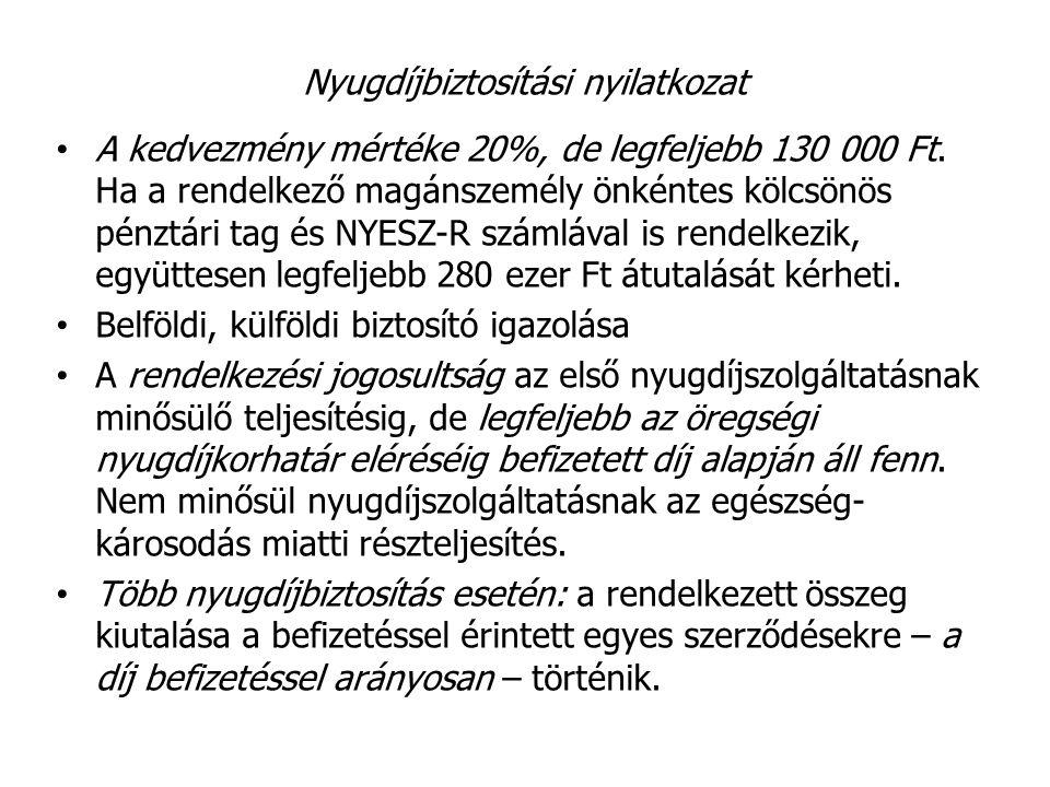 Nyugdíjbiztosítási nyilatkozat A kedvezmény mértéke 20%, de legfeljebb 130 000 Ft. Ha a rendelkező magánszemély önkéntes kölcsönös pénztári tag és NYE