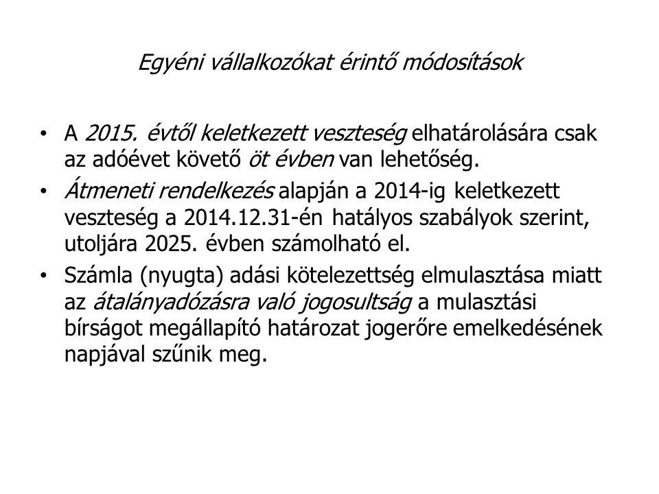 Egyéni vállalkozókat érintő módosítások A 2015. évtől keletkezett veszteség elhatárolására csak az adóévet követő öt évben van lehetőség. Átmeneti ren