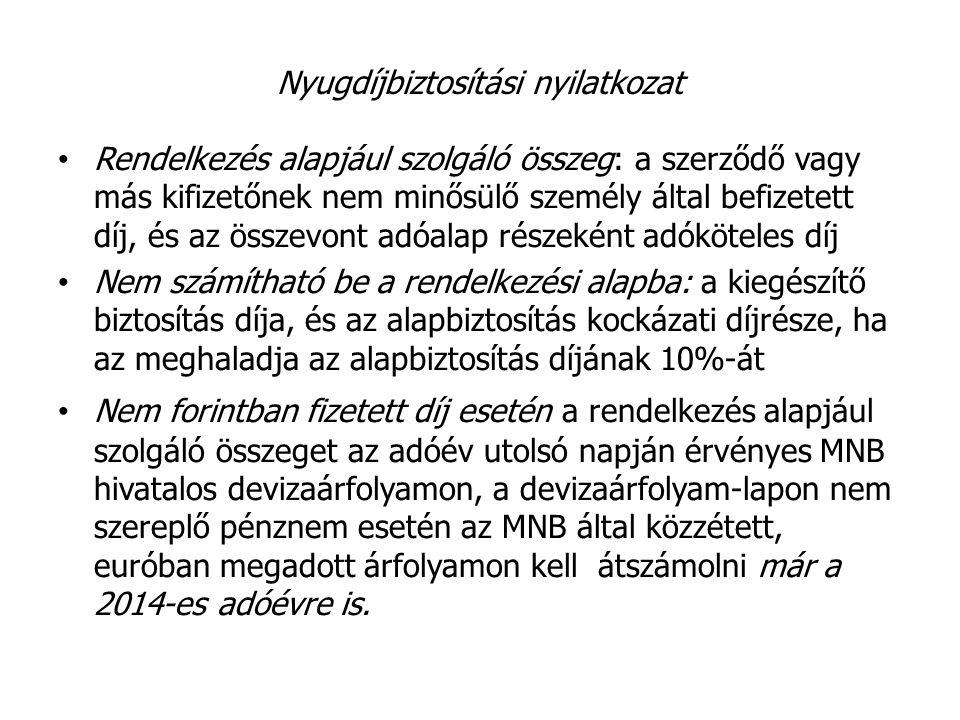Nyugdíjbiztosítási nyilatkozat A kedvezmény mértéke 20%, de legfeljebb 130 000 Ft.