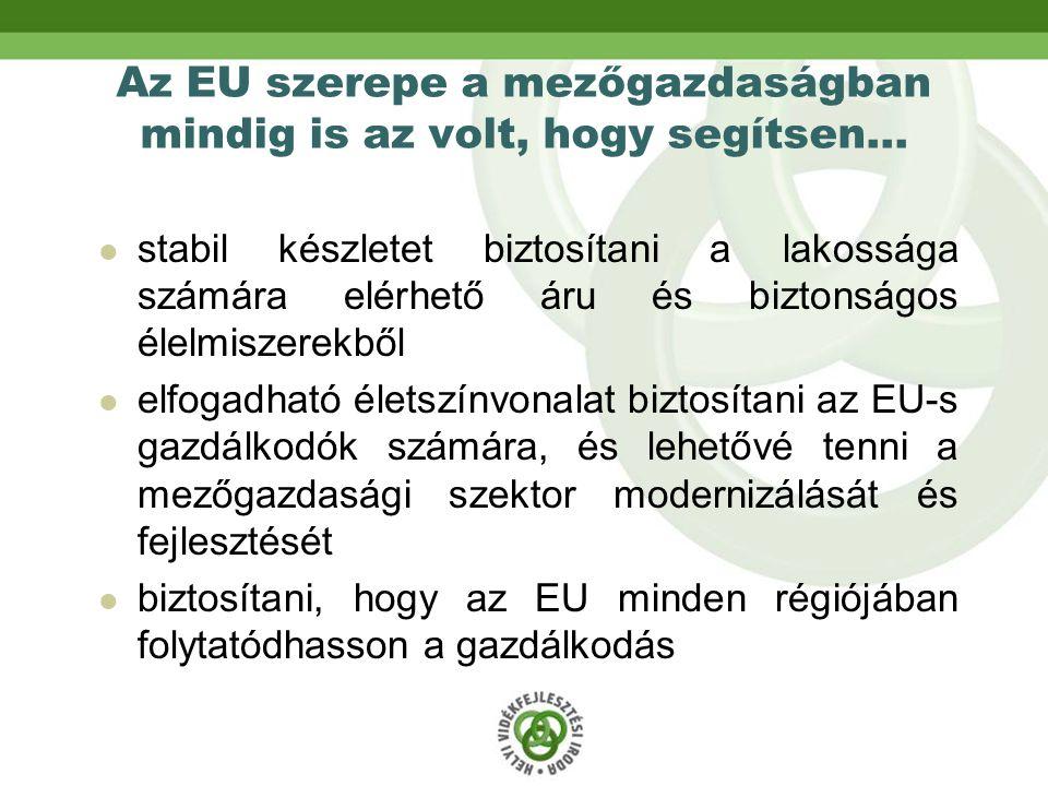 Az EU szerepe a mezőgazdaságban mindig is az volt, hogy segítsen… stabil készletet biztosítani a lakossága számára elérhető áru és biztonságos élelmiszerekből elfogadható életszínvonalat biztosítani az EU-s gazdálkodók számára, és lehetővé tenni a mezőgazdasági szektor modernizálását és fejlesztését biztosítani, hogy az EU minden régiójában folytatódhasson a gazdálkodás
