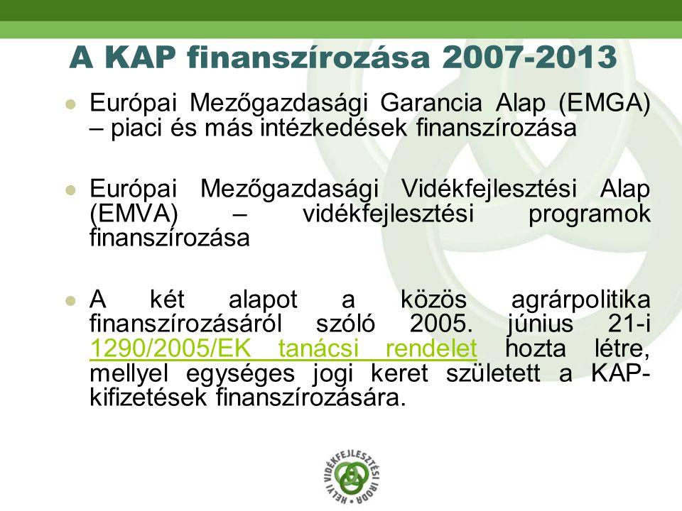 A KAP finanszírozása 2007-2013 Európai Mezőgazdasági Garancia Alap (EMGA) – piaci és más intézkedések finanszírozása Európai Mezőgazdasági Vidékfejlesztési Alap (EMVA) – vidékfejlesztési programok finanszírozása A két alapot a közös agrárpolitika finanszírozásáról szóló 2005.