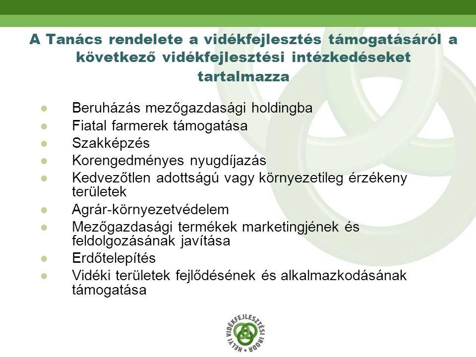 A Tanács rendelete a vidékfejlesztés támogatásáról a következő vidékfejlesztési intézkedéseket tartalmazza Beruházás mezőgazdasági holdingba Fiatal farmerek támogatása Szakképzés Korengedményes nyugdíjazás Kedvezőtlen adottságú vagy környezetileg érzékeny területek Agrár-környezetvédelem Mezőgazdasági termékek marketingjének és feldolgozásának javítása Erdőtelepítés Vidéki területek fejlődésének és alkalmazkodásának támogatása