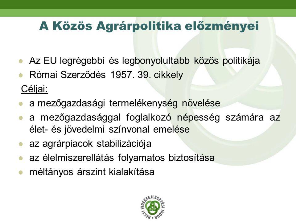 A Közös Agrárpolitika előzményei Az EU legrégebbi és legbonyolultabb közös politikája Római Szerződés 1957.