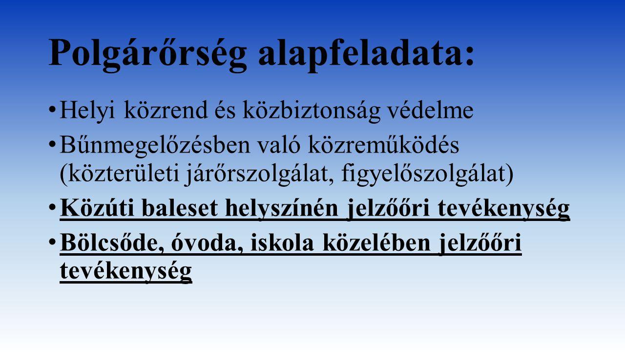 Polgárőrség alapfeladata: Helyi közrend és közbiztonság védelme Bűnmegelőzésben való közreműködés (közterületi járőrszolgálat, figyelőszolgálat) Közút