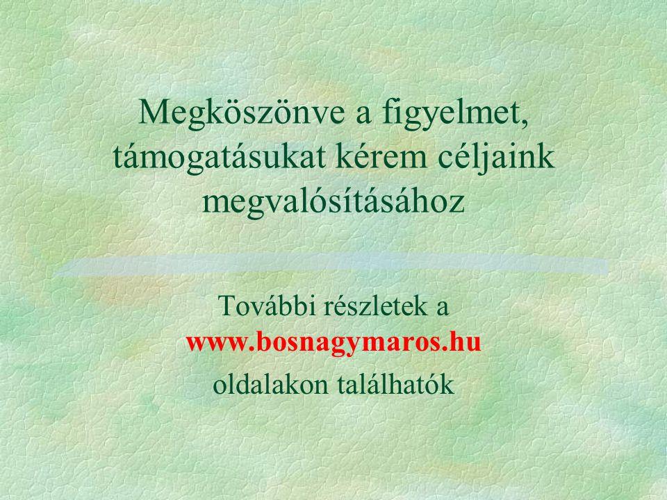 Megköszönve a figyelmet, támogatásukat kérem céljaink megvalósításához További részletek a www.bosnagymaros.hu oldalakon találhatók