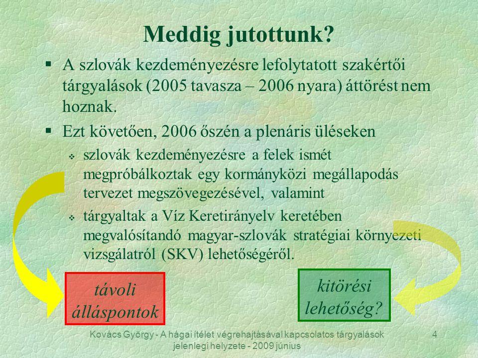 Kovács György - A hágai ítélet végrehajtásával kapcsolatos tárgyalások jelenlegi helyzete - 2009 június 4 Meddig jutottunk? §A szlovák kezdeményezésre