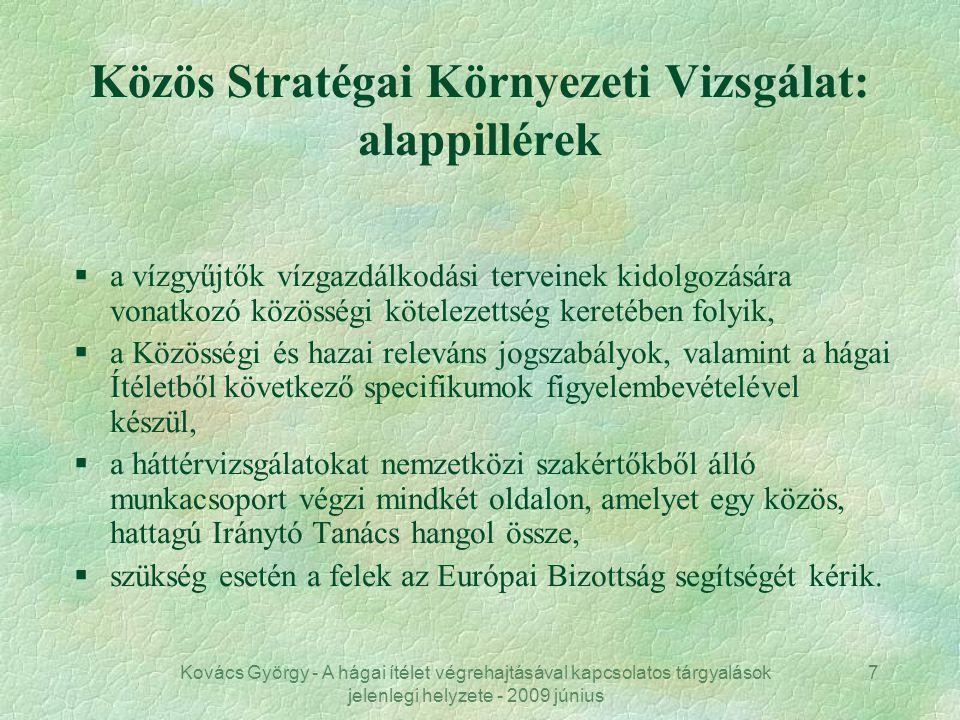Kovács György - A hágai ítélet végrehajtásával kapcsolatos tárgyalások jelenlegi helyzete - 2009 június 7 Közös Stratégai Környezeti Vizsgálat: alappi