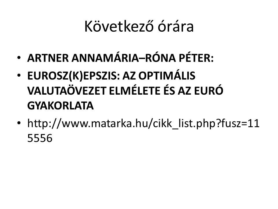Következő órára ARTNER ANNAMÁRIA–RÓNA PÉTER: EUROSZ(K)EPSZIS: AZ OPTIMÁLIS VALUTAÖVEZET ELMÉLETE ÉS AZ EURÓ GYAKORLATA http://www.matarka.hu/cikk_list