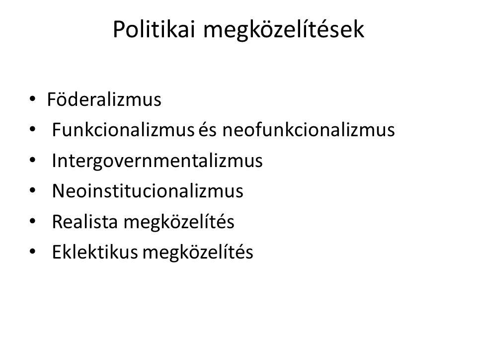 Politikai megközelítések Föderalizmus Funkcionalizmus és neofunkcionalizmus Intergovernmentalizmus Neoinstitucionalizmus Realista megközelítés Eklekti