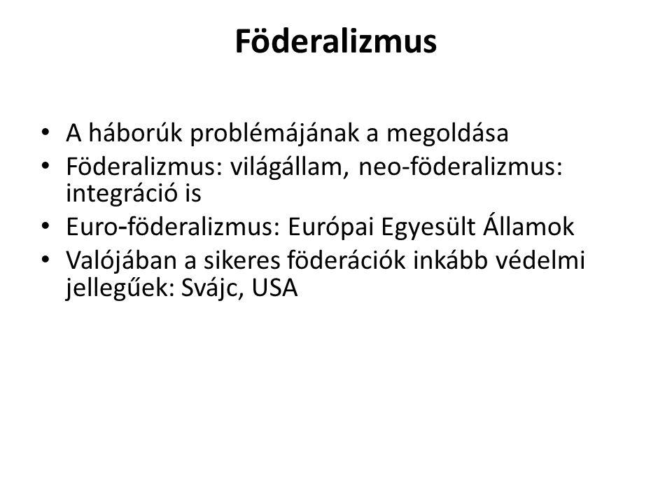 Föderalizmus A háborúk problémájának a megoldása Föderalizmus: világállam, neo-föderalizmus: integráció is Euro - föderalizmus: Európai Egyesült Állam